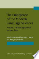 The Emergence of the Modern Language Sciences: Historiographical perspectives