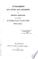 Avvertimento agli autori dell' Effemeridi di medicina omiopatica dal cavalier Paszuale Panvini...