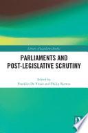 Parliaments And Post Legislative Scrutiny