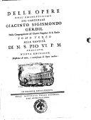 Delle opere dell'eminentissimo sig. cardinale Giacinto Sigismondo Gerdil ... Tomo primo [-sesto] ..
