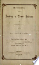 Proceedings Of The Academy Of Natural Sciences Part I Jan Mar 1895