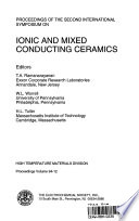 Proceedings of the Second International Symposium on Ionic and Mixed Conducting Ceramics