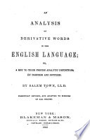 An Analysis Of Derivative Words In The English Language