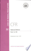 Code Of Federal Regulations Title 32 National Defense Pt 1 190 Revised As Of July 1 2011