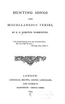 Hunting Songs and Miscellaneous Verses