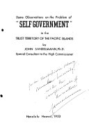 Some Observations on the Problem of 'self Government' in the Trust Territory of the Pacific Islands