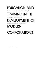 Education and Training in the Development of Modern Corporations Book
