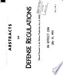 Abstracts of Defense Regulations Issued Pursuant to the Defense Production Act Book