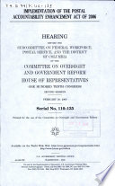 Implementation of the Postal Accountability Enhancement Act of 2006