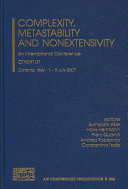 Complexity  Metastability  And Nonextensivity Book