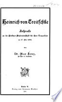 Heinrich von Treitschke; Ansprache an die Berliner Studentenschaft bei ihrer Trauerfeier am 17. Mai 1896