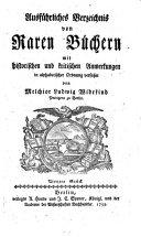 Ausführliches Verzeichnis von Raren Büchern