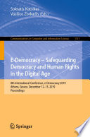 E-Democracy – Safeguarding Democracy and Human Rights in the Digital Age