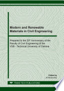 Modern and Renewable Materials in Civil Engineering