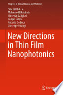 New Directions In Thin Film Nanophotonics Book PDF