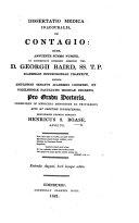 Dissertatio medica inauguralis, de contagio, etc