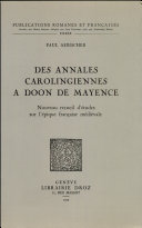 Des annales carolingiennes á Doon de Mayence