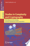 Studies in Complexity and Cryptography Book