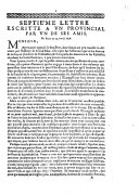 Septie'me lettre escritte a vn prouincial par vn de ses amis. De Paris ce 25. Avril 1656