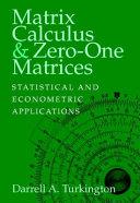 Matrix Calculus and Zero-One Matrices