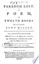 Paradise Lost A Poem In Twelve Books The Author John Milton Volume The First The Second