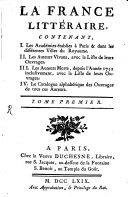 La France littéraire, [par l'abbé Joseph de La Porte et J. Hébrail].
