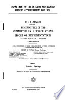 Department of the Interior and Related Agencies Appropriations for 1976