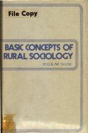 Basic Concepts of Rural Sociology