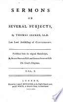 Sermons on several subjects, publ. by B. Porteus and G. Stinton