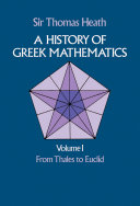 A History of Greek Mathematics, Volume I