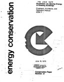 Guidelines for Saving Energy in Existing Buildings  Engineers  architects and operators manual