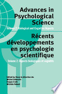 Advances in Psychological Science, Volume 2