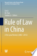 Rule of Law in China Book