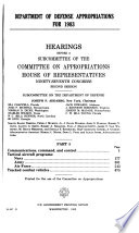 Department of Defense appropriations for 1983 Book
