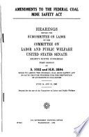 Amendments to the Federal Coal Mine Safety Act