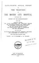 Report Of The Trustees Of The City Hospital Boston