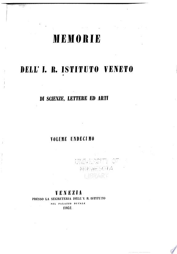 Memorie dell I R  Istituto veneto di scienze  lettere ed arti