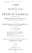 A Digest of the Statute Laws of the State of Georgia