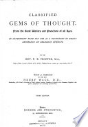 Classified Gems of Thought from the Great Writers and Preachers of All Ages Book