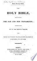 The Holy Bible, Containing the Old and New Testaments, According to the Authorized Version ... Pdf/ePub eBook