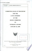 Committee Rules Of Procedure For The Congress Of The House Committee On Veterans Affairs