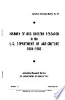 History of Hog Cholera Research in the U. S. Department of Agriculture