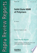 Solid State Nmr of Polymers Book