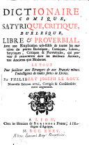 Dictionnaire comique, satirique, critique, burlesque, libre et proverbial