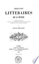 Origines littéraires de la France