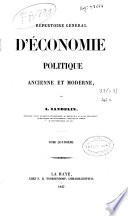 Repertoire General d'Economie Politique ancienne et moderne