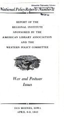 Report of the Regional Institute Sponsored by the American Library Association and the Western Policy Committee