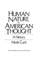 Human Nature in American Thought Book