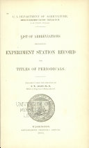 List of Abbreviations Employed in Experiment Station Record for Titles of Periodicals