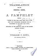 Translation from the Original Greek of a Pamphlet Entitled   Letters of the Most Pious King  and of the Most Holy Patriarchs  Concerning the Establishment of the Most Holy Synod  with an Exposition of the Orthodox Faith of the Eastern Catholic Church  Book PDF